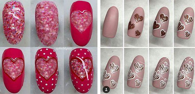 Step By Step Valentine's Day Nail Art Tutorials 2021