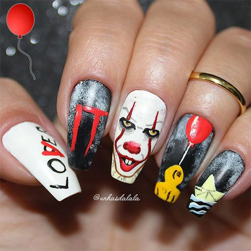 Halloween-Pennywise-Nails-2021-IT-Movie-Nail-Art-13